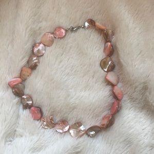 Iridescent Light Pink Shell Beaded Choker Necklace